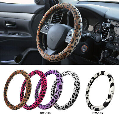 Protective Soft Plush Animal Print Steering Wheel Cover for Car Truck SUV ()