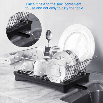 304 Stainless Steel Kitchen Dish Rack Bowl Drying Organizer Holder Drainer