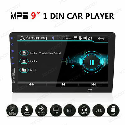 """Car MP5 Player 1 Din FM Stereo Radio USB AUX-IN TF Slot BT 9"""" Touchscreen EQ US"""