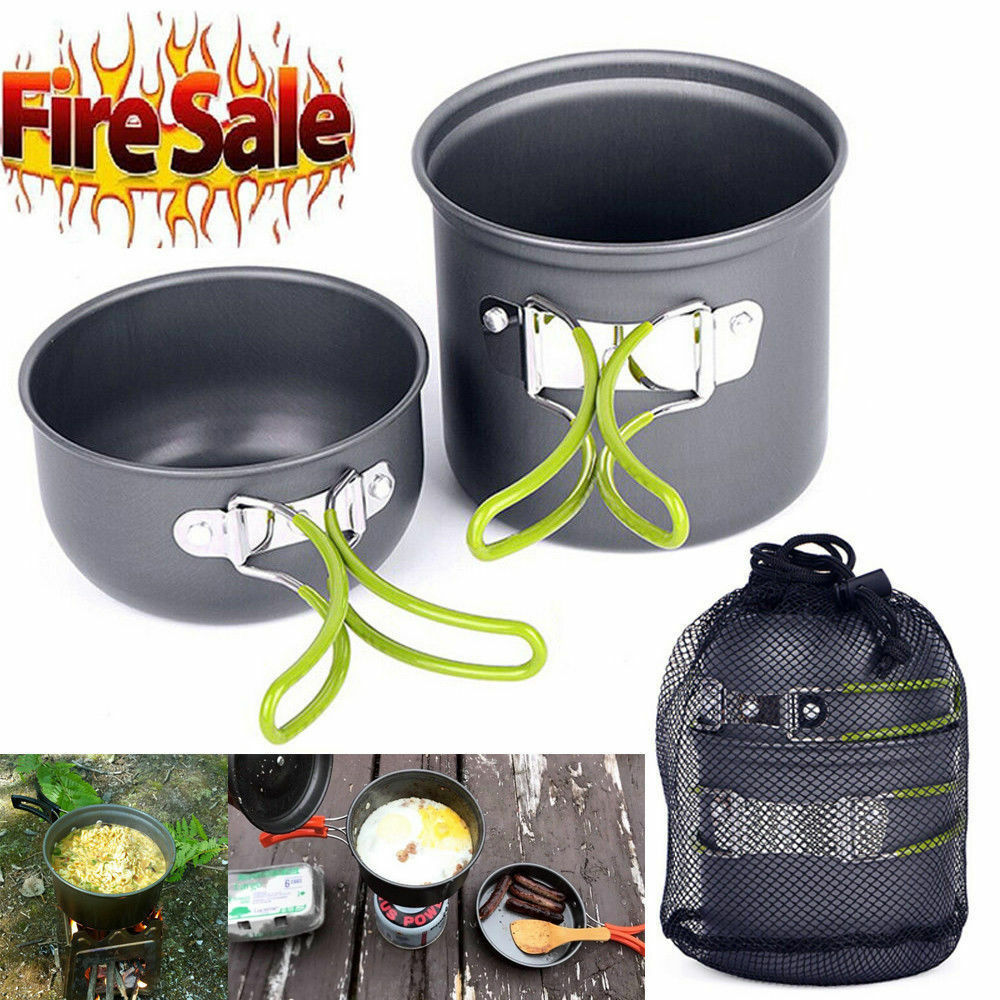 Outdoor Camping pan Hiking Cookware Backpacking Cooking Picnic Bowl Pot Pan Set