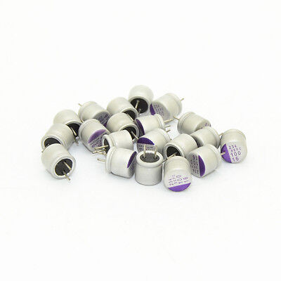 20pcs For Sanyo Sepc 100uf16v 6.36mm Aluminum Polymer Solid Capacitor6349