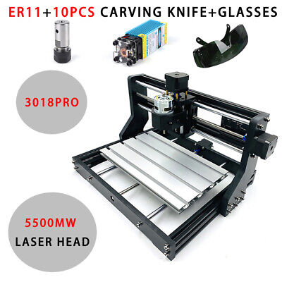 Cnc 3018pro Machine Router 3axis Engraver Pcb Wood Diy Mill W 5500mw Laser Head