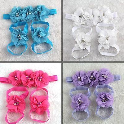 Foot Set Sock Baby Girl Headband+Flower Barefoot Sandals Hairband Toe Blooms (Barefoot Sock Sandals Baby)