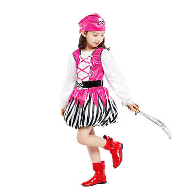 Pirate Girl Dress Up (Girl's Lovely Pink Pirate Dress Up Kids Costume Cosplay Halloween Party)