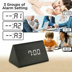 Modern Wooden Wood Digital LED Desk Voice Control Alarm Clock Thermometer