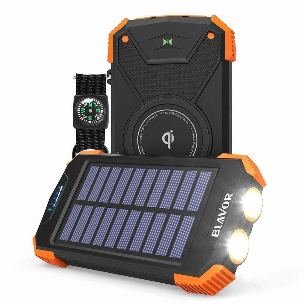 BLAVOR Solar Charger Power Bank 18W, QC 3.0 Portable Wireles