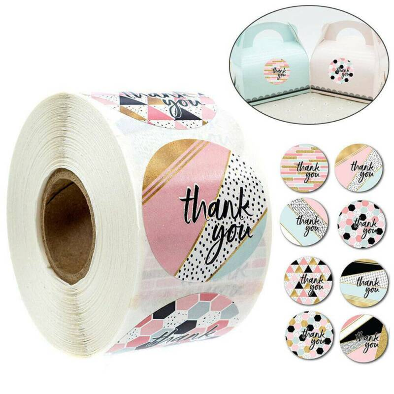 500Pcs/Roll Thank you Stickers Wedding Flower Baking Handmad