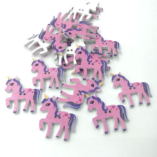 DIY 50X Wooden Deep pink Unicorn shape Buttons Scrapbooking Kid's clothing 25mm