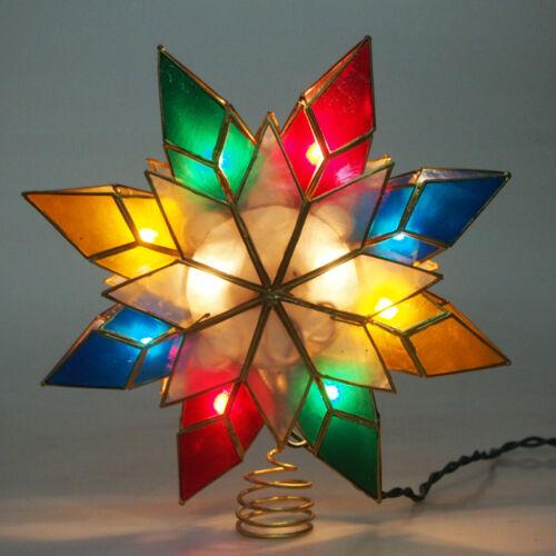 Capiz Star Metal Christmas Tree Topper Light, Multi-Color, 9-Inch