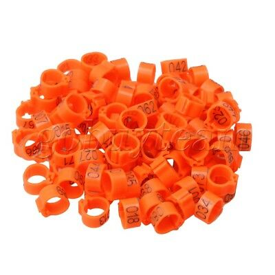 100 x Plastic Numbered Leg Clip Rings for Racing Pigeons Orange 9.5mm Diameter