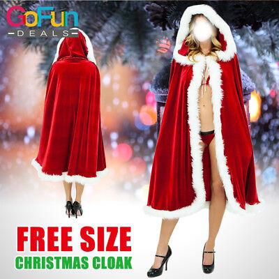 Weihnachtsfrau Kostüm Weihnachtskostüm Rot Rassig Samt Umhang Cape mit Mütze NEU