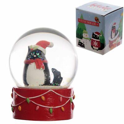 Palla di vetro con neve nataliza - GATTO NERO DI NATALE idea regalo 0TR7