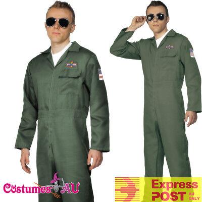 Top Gun Outfit (Mens Top Gun Costume Retro Men Aviator Pilot 1980s 80s Military Jumpsuit)