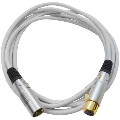 Premium 10 Foot White XLR Patch Cable Cord - 3 Pin XLRF to XLRM Mic Cord