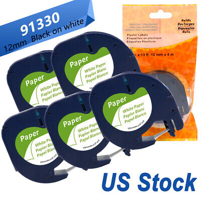 5pk Replace Dymo Letratag Refill 91330 White Paper Label Tape 12mm 4m Lt-100h