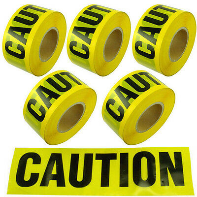 Yellow Caution Tape 5RollX7.5CMX100M Roll Safety Barrier Police Barricade Cordon - Police Caution Tape