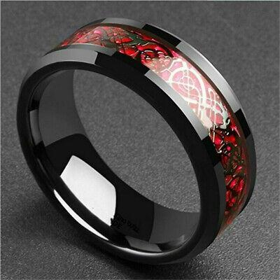 8MM titanium Popular ring steel carbon fiber dragon ring fashion men's jewelry - Dragon Ring Jewelry