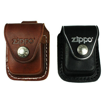 ZIPPO LIGHTER POUCH,CASE,BLACK,BROWN,COVER,BELT,CLIP,LOOP,GENUINE LEATHER,