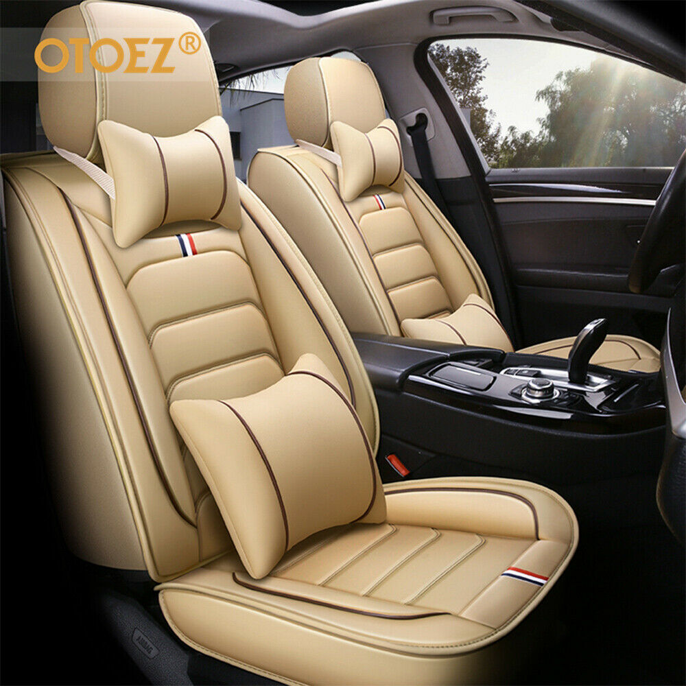 only fit Some of Them 5seat Full Set Seat Protector Artificial Leather,Front /& Rear Set Universal Beige Car Seat Covers for Dodge RAM 1500