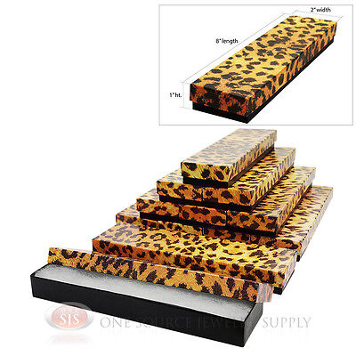 12 Leopard Print Cotton Filled Jewelry Gift Boxes 8 X 2 Bracelet Watch Box