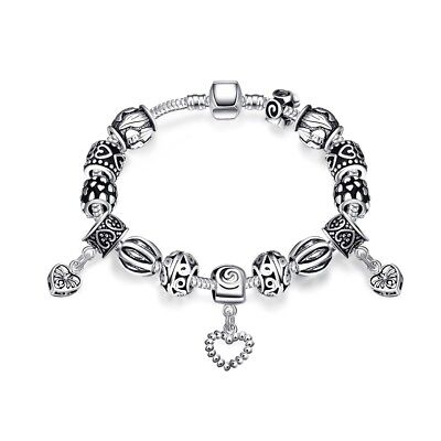 Silver Charm Bracelet With Beads and Magnetic Clasp 20cm