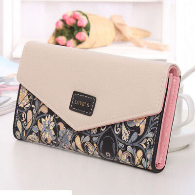 Gift Card Holder (Womens Wallet Leather Trifold Clutch Card Holder Floral Purse Xmas Gift)