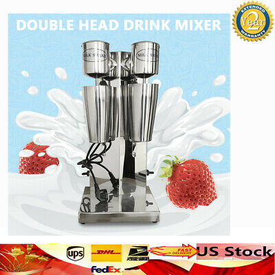 110v Commercial Stainless Steel Milk Shake Machine Double Head Drink Mixer 180w