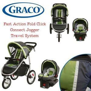Graco Fast Action Fold Click Connect Jogger Travel System with Snug Ride 35 Piazza, Grey and Green Condtion: Lightly ...