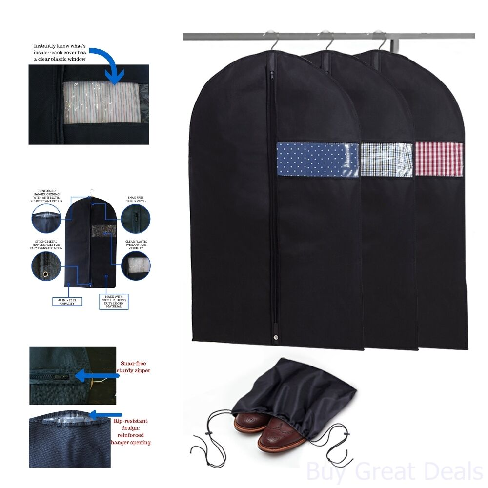 a83e30474937 Details about Breathable Garment Bags Suit Cover Set Of 3 Has Clear Window  Reinforced Opening