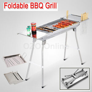 Foldable BBQ Charcoal Grill Folding Barbecue Camping Picnic Stainless Steel NEW