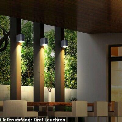 Set of 3 Outdoor Lights Wall Downlight Facades Lighting Balcony Lamps Alu black