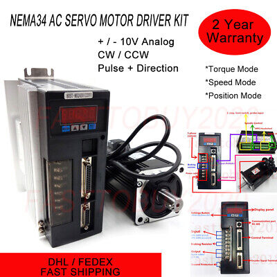 1000w Ac Servo Motor Kit 4nm Nema34 Rs485 Driver Cwccw 3m Cable For Cnc Milling