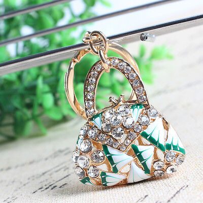 New Fashion Lady Handbag Charm Pendant Rhinestone Crystal Key Ring Keychain Gift