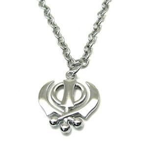 Sikh Khanda Pendant chain Necklace Steel Sikh symbol Punjabi jewelry 18 Inches