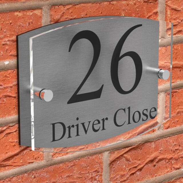 Modern Clear Acrylic House Sign Brushed Aluminium Door Number Name Road  Plaque