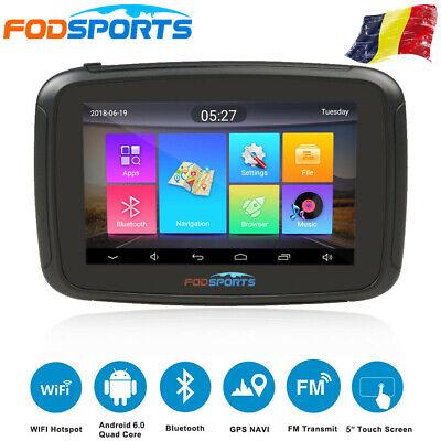 """5"""" Android 6.0 Bluetooth Navigazione GPS per Auto Moto WiFi SAT NAV + 16GB Mappa"""