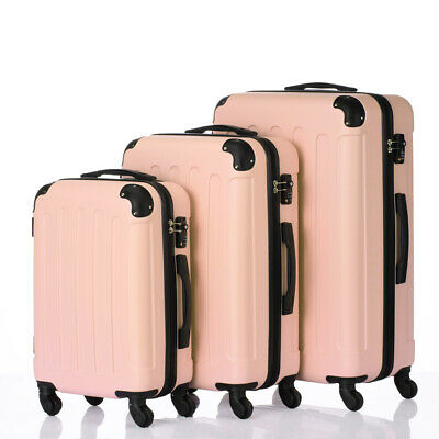 New 3x Travel Spinner Luggage Set Bag ABS Trolley Carry On Suitcase w/TSA (Pink Trolley)