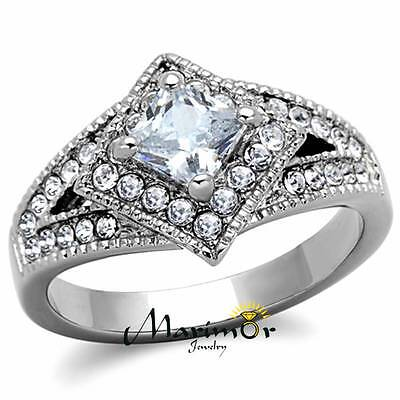 STAINLESS STEEL 1CT CUSHION CUT CUBIC ZIRCONIA  HALO ENGAGEMENT RING SIZES 5-10