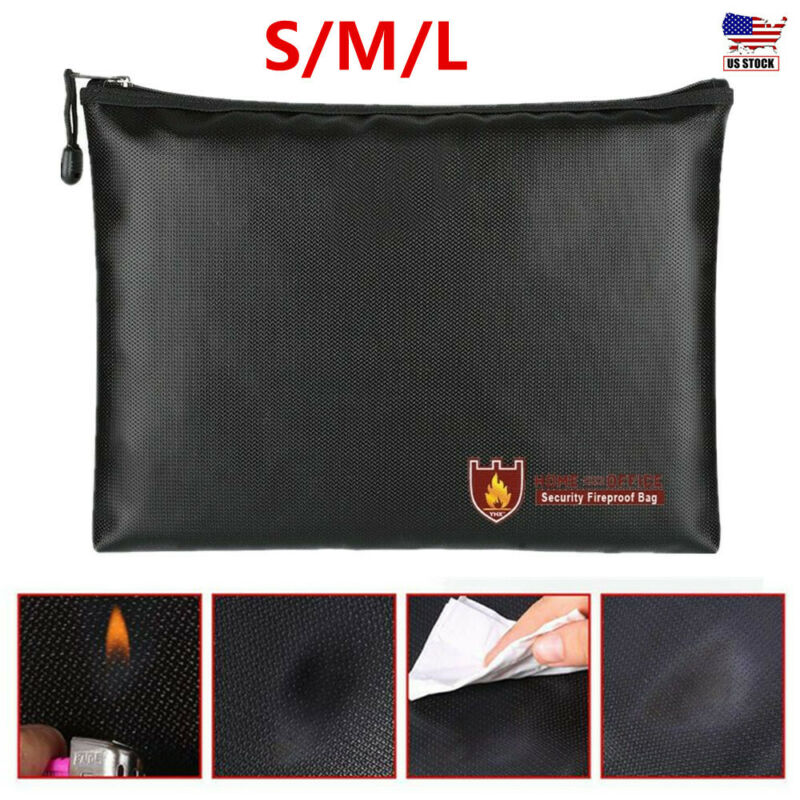Fireproof Water Resistant Money Bag Safe File Pouch Envelope