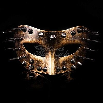 Steampunk Costume Theater Masquerade Mask with Spike for Men - Metallic Gold