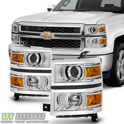 2014-2015 Chevy Silverado 1500 Pickup Projector Headlights Headlamps Left+Right