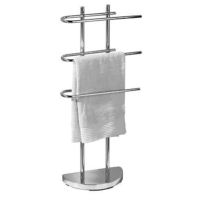 Chrome Plated Free Standing 3 Arm Towel Rail Shelf Storage Rail Holder Bath Rack