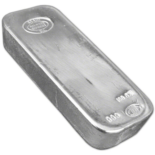 Купить 100 oz. Silver Bar - Asahi Refining .999 Fine