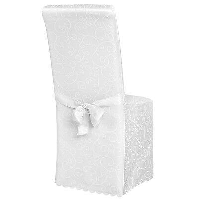 Stuhlhusse Stuhlüberzug Stuhlbezug Stuhl Hussen Bezug mit Muster Hochzeit weiß