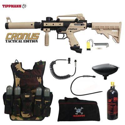Tippmann Tactical Paintballs - Tippmann Cronus Tactical LT Tactical Vest Paintball Gun Package Tan