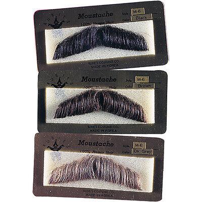 HUMAN HAIR GENT GENTLEMAN MOUSTACHE COSTUME MUSTACHE BLACK BROWN GREY 2011 (Mustache Costumes)