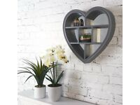 Heart Shaped Mirror with Shelves. 7 Sections. Grey.