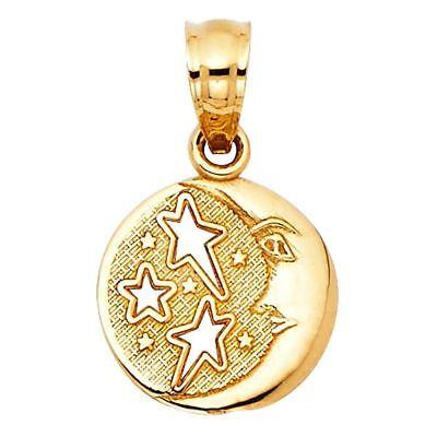Gold Fancy Italian (Fancy Charm Solid 14k Italian Real Gold Yellow Sun Moon Stars Round 10mm Pendant )