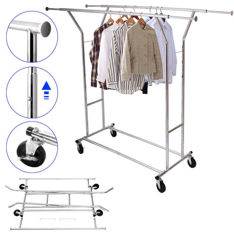 New Portable Double Garment Rack Hanger Holder Grade Adjustable Clothing Rolling