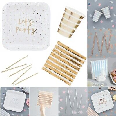 Party Cups Straws Napkins and Plates Disposable Iridescent / Gold Metallic Foil
